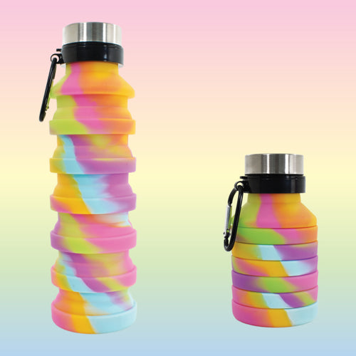 Pastel Rainbow Tie Dye Collapsible Water Bottles