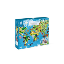 Load image into Gallery viewer, Janod Endangered Animals World Map Puzzle - 200 pc