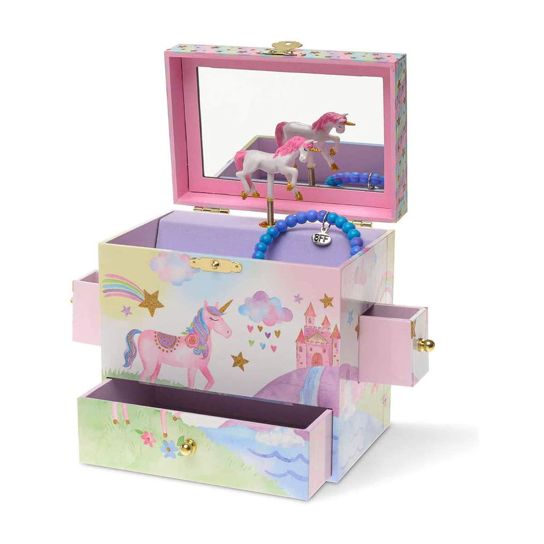 Rainbow Glitter Unicorn Musical Jewelry Chest with Drawers from Jewelkeepers