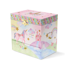 Load image into Gallery viewer, Rainbow Glitter Unicorn Musical Jewelry Chest with Drawers from Jewelkeepers