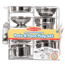 Load image into Gallery viewer, Deluxe Stainless Steel Pots & Pans Playset