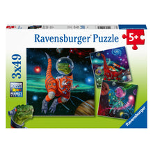Load image into Gallery viewer, Dinosaurs in Space 3 x 49pc Jigsaw Puzzles from Ravensburger