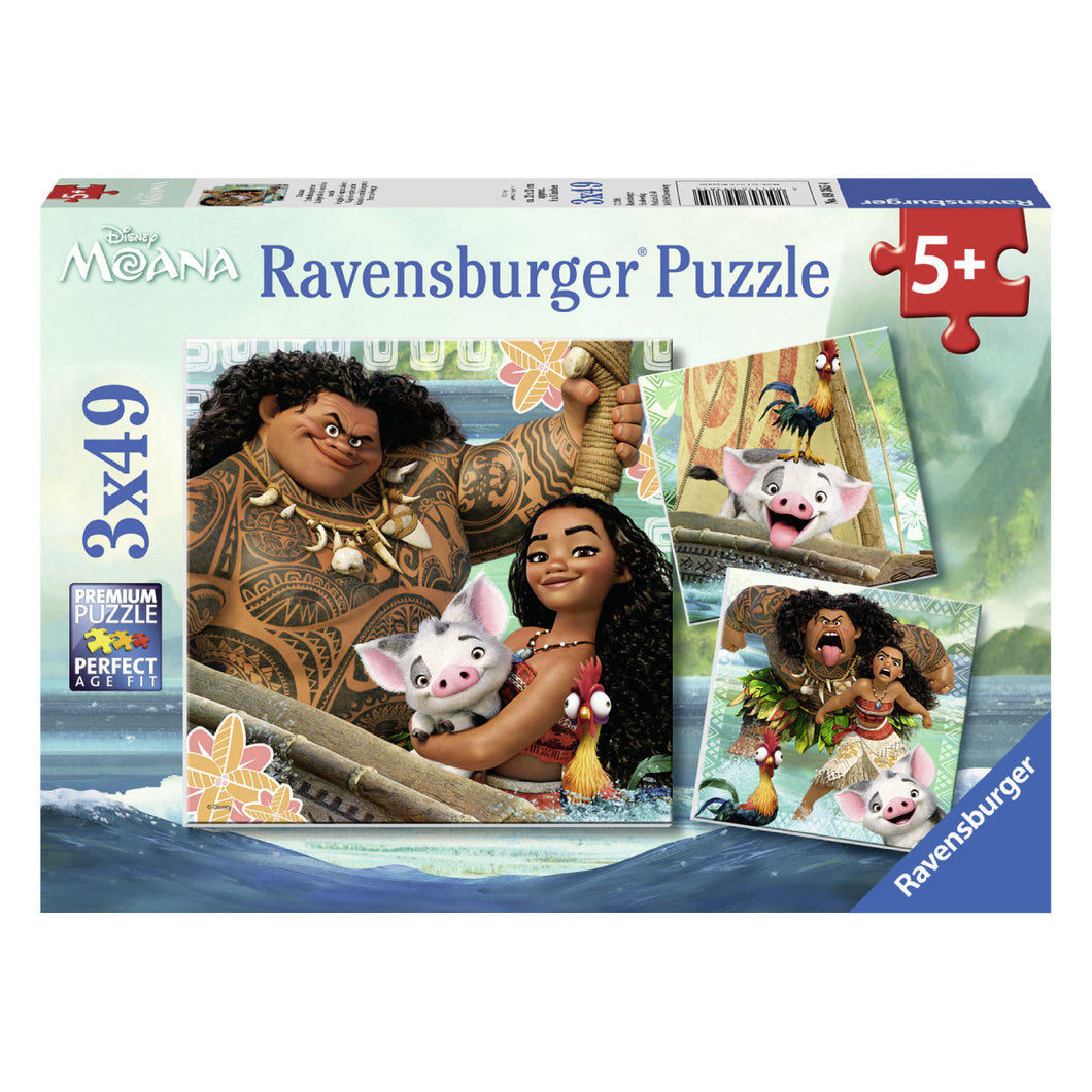 Disney's Moana Born to Voyage 3 x 49pc Jigsaw Puzzles from Ravensburger