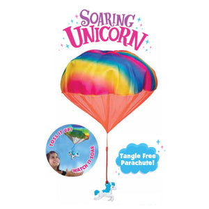 Soaring Unicorn with Rainbow Parachute
