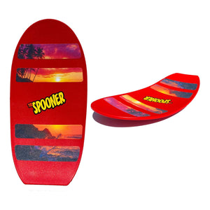 Freestyle Spooner Board - Red with Scenery Grip Tape