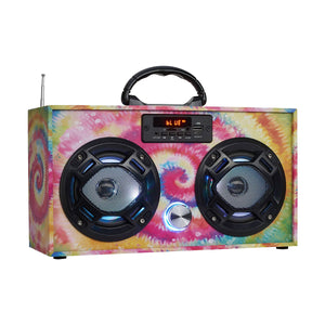 Boombox Couture FM Radio + Bluetooth Mini Boombox - Tie Dye