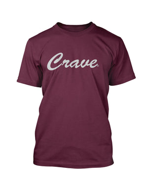 CRAVE SCRIPT TEE BURGUNDY - Crave Clothing Line