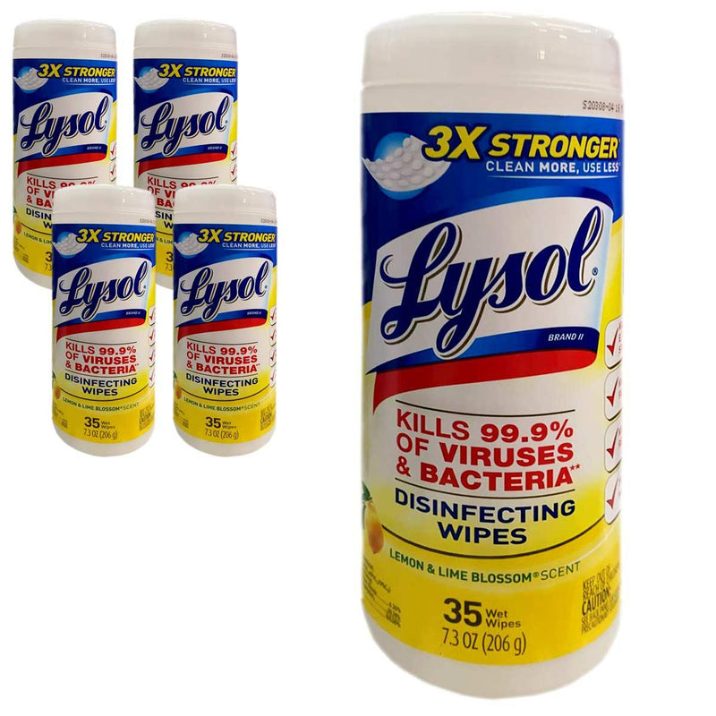 Lysol Disinfecting Wipes, Lemon & Lime Blossom - 35 Ct Pack of 4 Canisters (140ct) - Supply Band