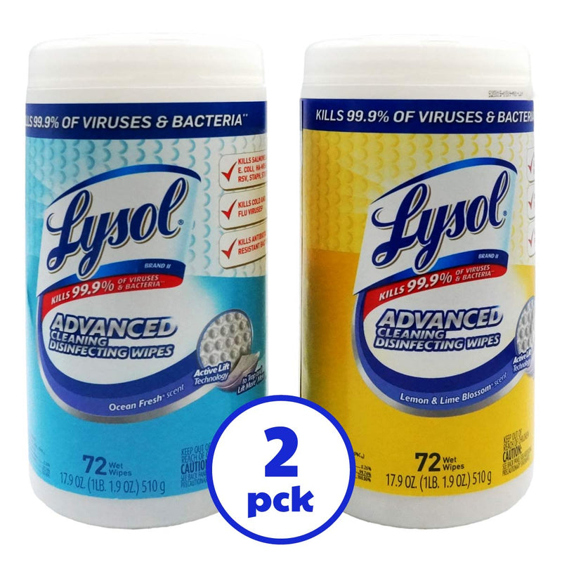 Lysol Disinfecting Wipes, Lemon & Lime Blossom And Ocean Fresh Scents, 72 ct Pack of 2 Can