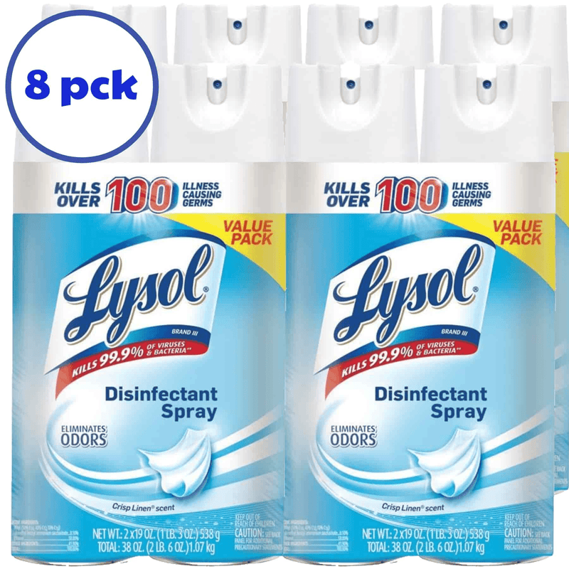 Lysol Disinfectant Spray 19oz, Crisp Linen, 8 pack - Supply Band