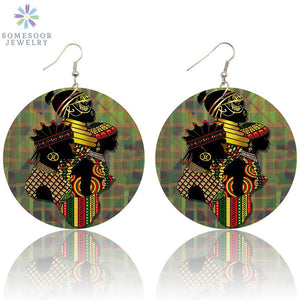 Vintage African Tribal Wooden Drop Earrings Black Queen Pattern AFRO Ethnic Wood Dangle Jewelry For Women Gifts