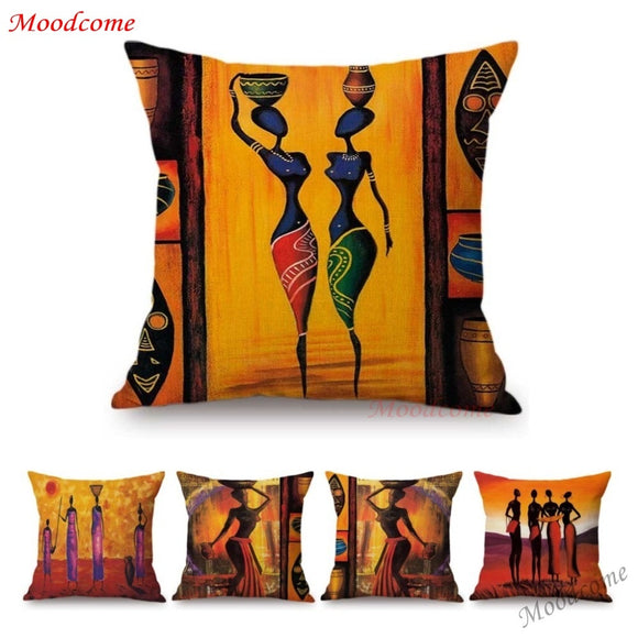 African Decoration Oil Painting Sofa Throw Pillow Case Abstract Africa Woman Girl Life Art Gallery Cotton Linen Cushion Cover