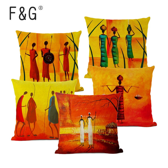 African Women Cushion Cover African Humanistic Life Oil Painting Art Decorative Pillows Home Decoration Sofa Linen Pillow Cover
