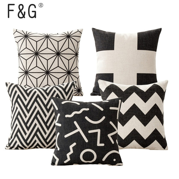 Black and White Geometric Cushion Cover Square 18