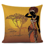 African Ethnic Woman Cushion Cover African Girl Decorative Pillow Case Linen Color Cloth Throw Pillow Cover for Sofa Home Decor