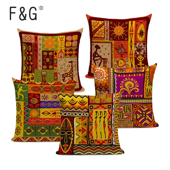 African Style Cushion Cover Tribal Ethnic Geometric Pattern Decorative Pillowcase Linen Pillow Cover for Sofa Home Decor