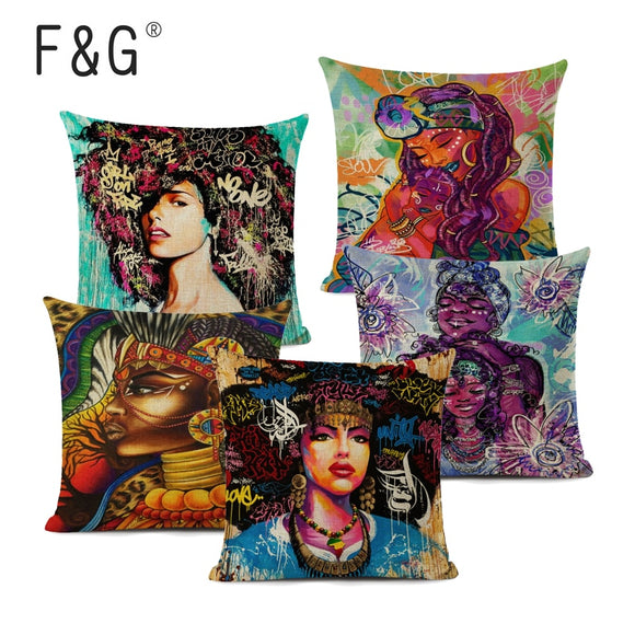 African Girl Decorative Cushion Cover African Graffiti Art Pillow Cover Linen Throw Pillow for Home Decor
