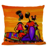 African Woman Cushion Cover Africa Life Abstract Painting Decorative Pillows  Square Linen Cushions Home Decor Pillow Case