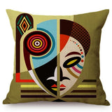 Colorful Fashion African Girl Cushion Cover Africa Symbols Cartoon Art Cotton Linen Exotic Decoration Sofa Throw Pillow Cover
