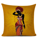 Ethnic Woman Cushion Cover African Style Decorative Pillow Case Square Linen Throw Pillow Case for Sofa Home Decor