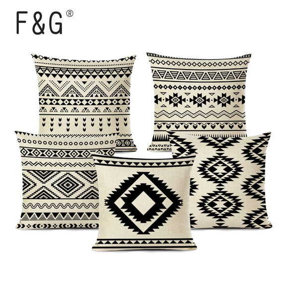 Retro High Quality Ethnic Geometry Cushion Cover Throw Pillow Cotton Linen Car Sofa Bed Home Decor Textile Printed Pillowcase