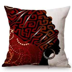 African Woman With Headwrap Scarf Abstract Black Women Home Decorative Sofa Throw Pillow Case Soft Cotton Linen Cushion Cover