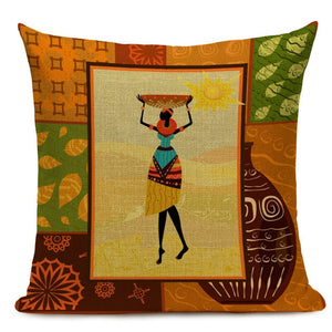 Classical African Ethnic Cushion Cover African Women Working Decorative Cushions Square Linen Pillowcase for Sofa Home Decor