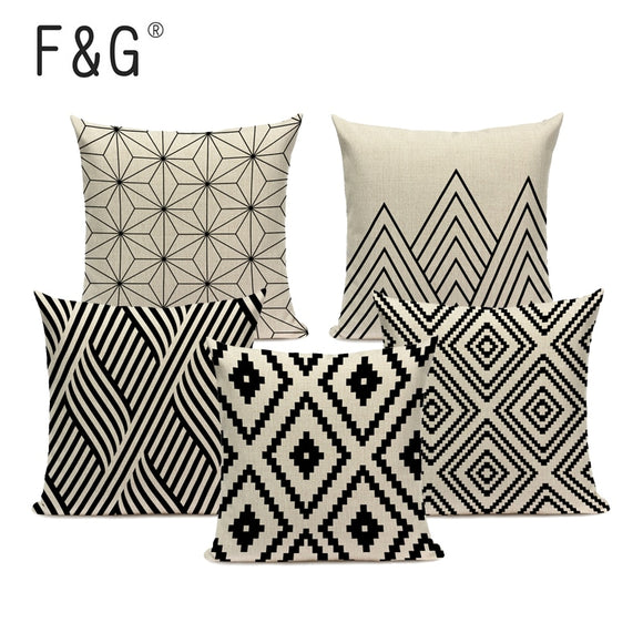 Geometric patterns cushion Decorative Linen Cushion Cover for sofa 45Cmx45Cm Square black and white Decor Custom pillow cover