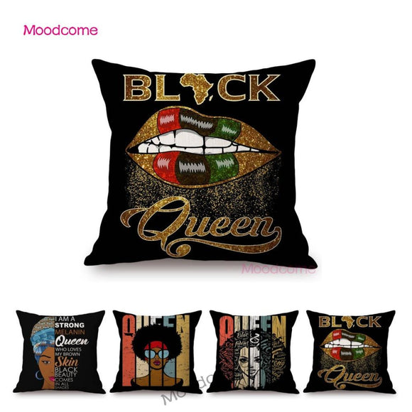 Black Queen Letter Print Black Lives Matter Parade Art African Girl Woman Print Sofa Throw Pillow Case Linen Cushion Cover Case