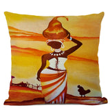 African Woman Cushion Cover Beautiful Lady Dancer Oil Painting Linen Decorative Pillows Bedroom Sofa Home Decor Pillow Cover