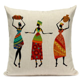 African Woman Cushion Cover Africa Ethnic Dancing Lady Pattern Pillow Covers Linen Pillow Case for Bedroom Sofa Decoration
