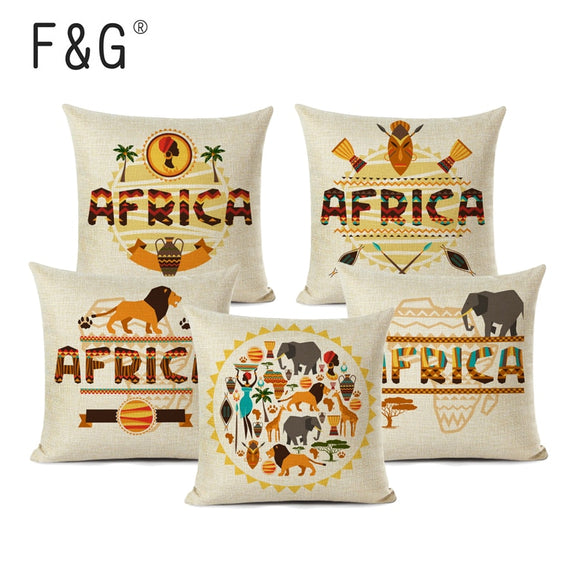 African Style Cushion Cover Linen Cartoon Character Animal Africa Map Pattern Printed Home Sofa Decoration Pillow Case