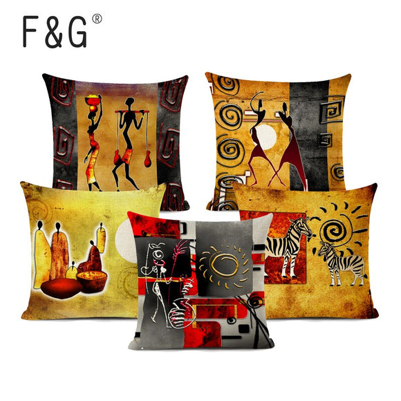 Abstract African National Life Art Gallery Home Decor Linen Cushion Cover African Decoration Oil Painting Sofa Throw Pillowcase
