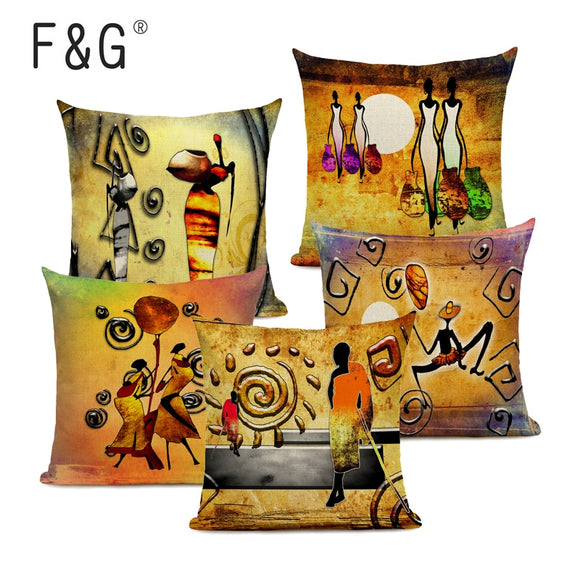 African Decoration Oil Painting Sofa Throw Pillowcase Abstract  African National Life Art Gallery Home Decor Linen Cushion Cover