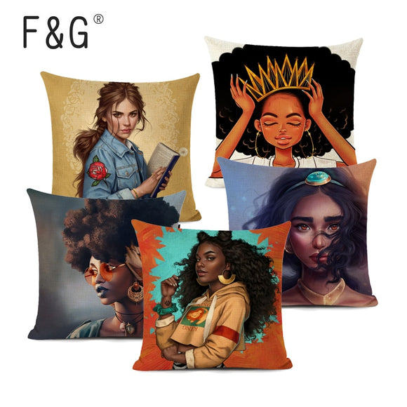 Beautiful Africa Princess Decorative Art Oil Painting Sofa Throw Pillow Case  Linen African Lifestyle Home Cushion Cover