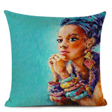 African Character Oil Painting Cushion Cover African Nation Women Decorative Pillowcase Linen Pillow Coverfor Home Decor