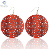 Afro Ethnic Bohemian Wooden Drop Earrings African Fabric Styles Both Sides Printed Loops Dangle For Women