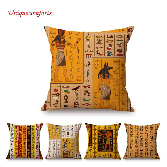 Ancient Egyptian Hieroglyphs Letters Symbol Pattern Sofa Throw Pillow Cover African Art Egypt Pharaoh Queen Linen Cushion Cover