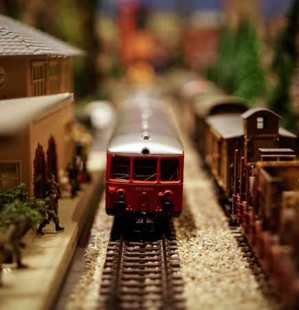 Build a modern model train room with wood planks