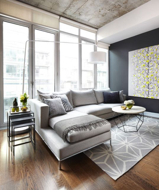 Living room geometric carpet to complement your wood flooring