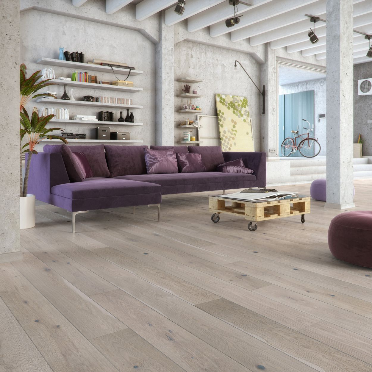 Matt lacquered grey flooring (5351829930141)