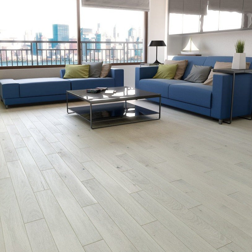 Grey matt lacquered flooring