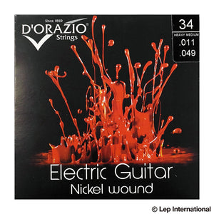D'Orazio Strings Electric Guitar Nickel Round Wound 34(Heavy Medium 011-049) 【ゆうパケット対応可能】