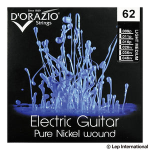 D'Orazio Strings Electric Guitar Pure Nickel 99% Round Wound 62 (Light Medium 009-046) 【ゆうパケット対応可能】