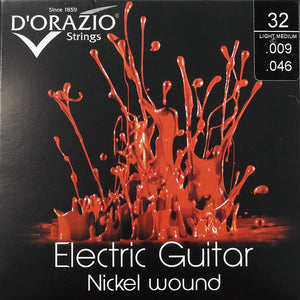 D'Orazio Strings Electric Guitar Nickel Round Wound 32(Light Medium 009-046) 【ゆうパケット対応可能】