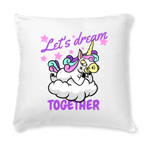 "Coussin+Housse licorne - ""let's dream together"" - Clairement licorne"
