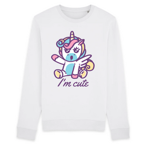 "Sweat licorne unisexe - ""i'm cute"" - Clairement licorne"