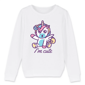 "Sweat licorne enfant - ""i'm cute"" - Clairement licorne"