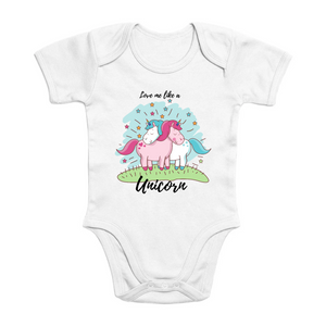 "Body licorne bébé - ""love me like a unicorn"" - Clairement licorne"