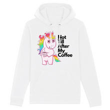 "Charger l'image dans la galerie, Sweat à capuche licorne - ""not till after my coffee"" - Clairement licorne"